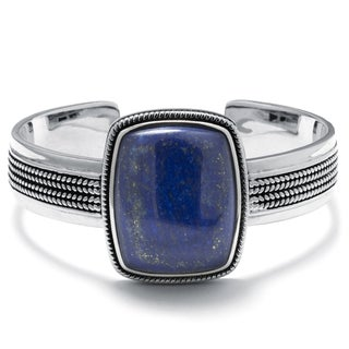Sterling Silver Dyed Lapis Rectangular Cuff Bracelet