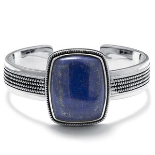 Sterling Silver Dyed Lapis Rectangular Cuff Bracelet