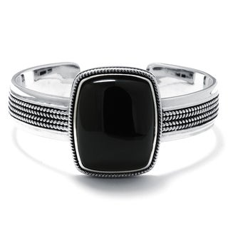 Sterling Silver Onyx Rectangular Cuff Bracelet