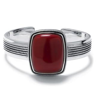 Sterling Silver Simulated Red Jasper Rectangular Cuff Bracelet