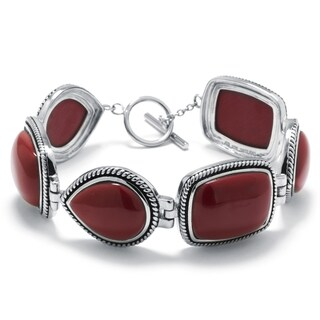 Athra Luxe Collection Sterling Silver Simulated Red Jasper Link Bracelet