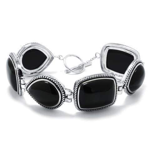 Athra Luxe Sterling Silver Onyx Link Bracelet