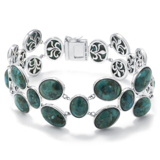 Enhanced Turquoise Sterling Silver Wide-Link Bracelet
