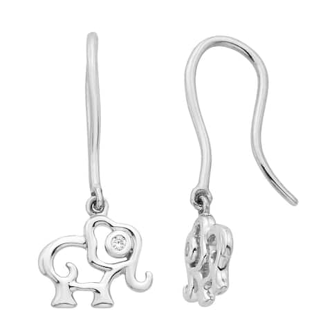 Little Diva Diamonds Girl's Sterling Silver .02ct TDW Diamond Accent Elephant Dangle Earrings