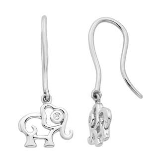 Little Diva Diamonds Girl's Sterling Silver .02ct TDW Diamond Accent Elephant Dangle Earrings