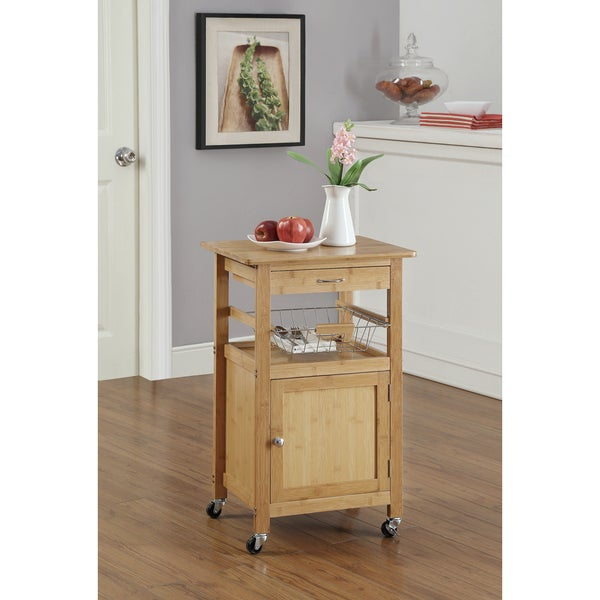 Bamboo Kitchen Cart W Baskets Free Shipping Today 16403229