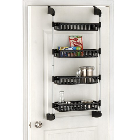 Metal and Plastic Overdoor 4-Basket Storage Unit