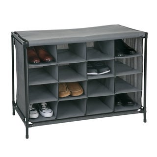 Simplify Grey 16-compartment Shoe Cubby