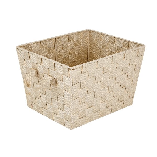 Shop Simplify Ivory Plastic Small Woven Storage Bin Free
