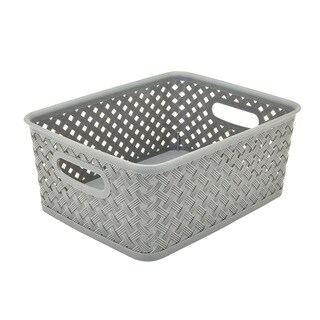 Simplify Grey Resin Wicker Small Storage Bin