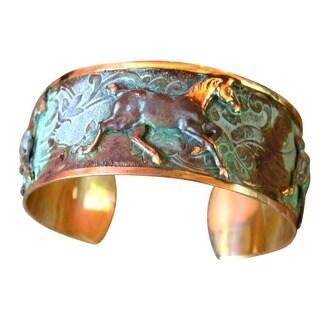 Handmade Verdigris Patina Classic Running Horses Cuff Bracelet (USA)