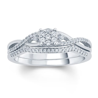 1/3 Carat Round Diamonds Cluster  Infinirty Style Fashion Ring In .925 Sterling Silver.