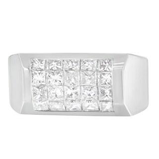 14k White Gold 2 ct TDW Princess Diamond Cluster Ring (G-H, VS1-VS2) (Option: 9.25)