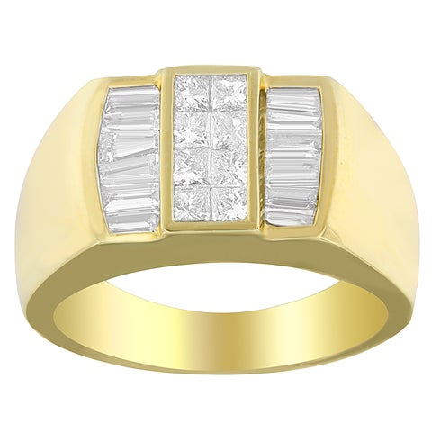 14K Yellow Gold 1 3/4ct.TDW Princess and Baguette-cut Diamond Ring (G-H, SI1-SI2)