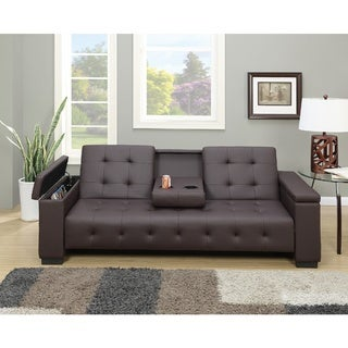 Cortez Brown Faux Leather Button-tufted Adjustable Storage Sleeper Sofa
