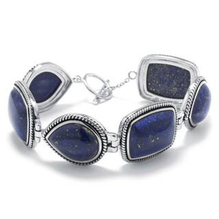 Sterling Silver Dyed Lapis Link Bracelet