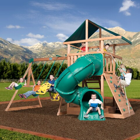 Backyard Discovery All Cedar Mountain Range Swing Set - brown/gree/Brown/Green - 11'5h x 11'3d x 16'5l/11'5 x 11'3 x 16'