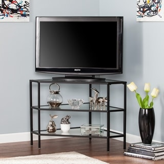 Link to Norman Metal/Glass Corner TV Stand - Black Similar Items in TV Stands & Entertainment Centers