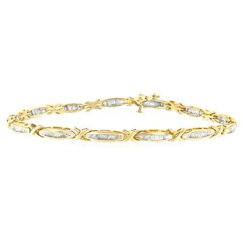 14K Yellow Gold 1ct. TDW baguette-cut Diamond Bracelet (H-I,I1-I2)