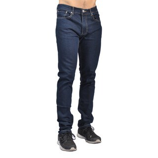 Indigo People Mens Slim Fit Denim Dark Wash Gold Stitch Jeans