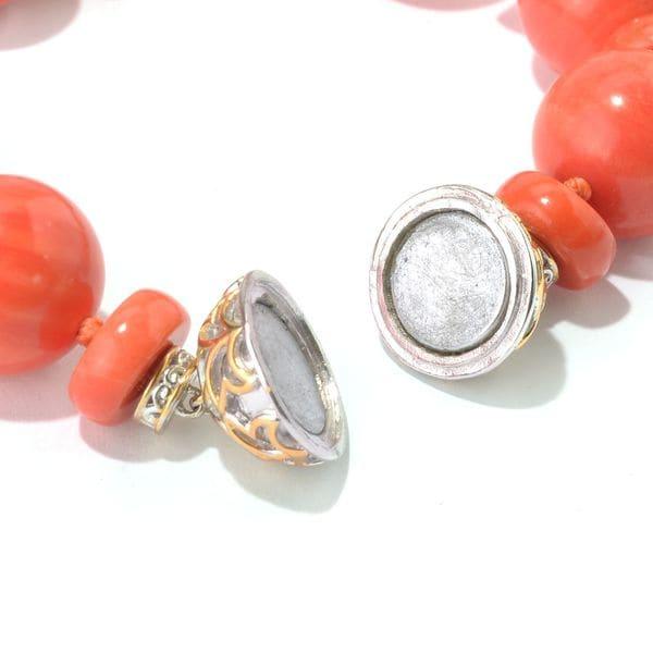 """Natural 8mm Peach Quartz 7.5/""""Long 925 Sterling Silver Magnetic Clasp Bracelet"""
