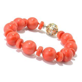 Michael Valitutti Palladium Silver Salmon Coral Beaded Bracelet w/ Magnetic Clasp