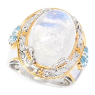 Michael Valitutti Palladium Silver Moonstone & Swiss Blue Topaz Euro Shank Ring