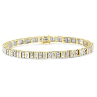 14K Yellow Gold 4.00ct. TDW Round and Baguette-cut Diamond Bracelet(H-I,SI2-I1)