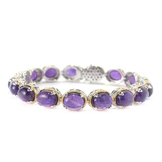 Michael Valitutti Palladium Silver Oval African Amethyst Cabochon Tennis Bracelet