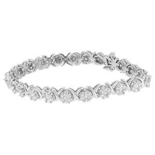 14K White Gold 4.88ct Round-cut Diamond Flower Bracelet (H-I,SI2-I1)