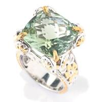 Michael Valitutti Palladium Silver Paris Green Amethyst High-Set Floral Cocktail Ring