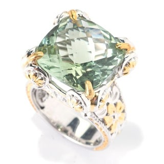 Michael Valitutti Palladium Silver Paris Green Amethyst High-Set Floral Cocktail Ring