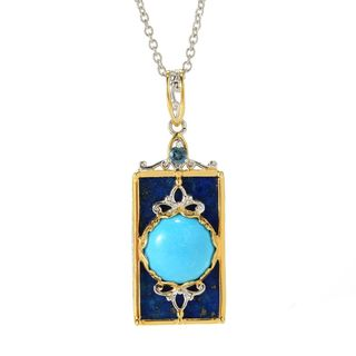 Michael Valitutti Palladium Silver Lapis, Kingman Turquoise & London Blue Topaz Pendant
