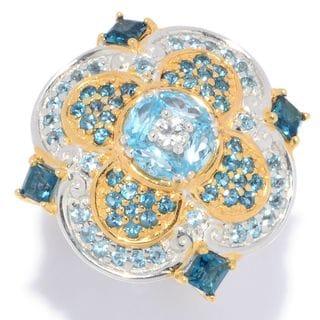 Michael Valitutti Palladium Silver Paris White, Swiss Blue & London Blue Topaz Quatrefoil Ring