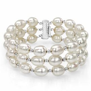 "DaVonna Sterling Silver Beads 8-9mm White Freshwater High Luster Pearl 3-Row Strand Bracelet, 7.25"""