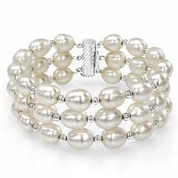 DaVonna Sterling Silver Beads 8-9mm White Freshwater High Luster Pearl 3-Row Strand Bracelet, 7.25""
