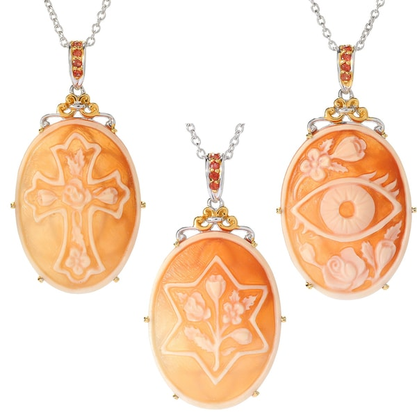 Michael valitutti palladium silver carved shell cameo orange michael valitutti palladium silver carved shell cameo amp orange sapphire symbol pendant aloadofball Image collections