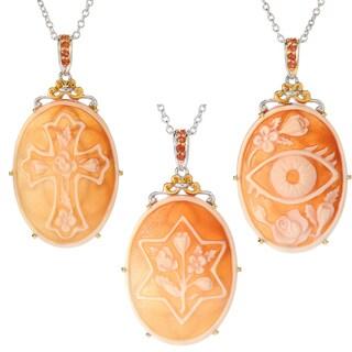 Michael Valitutti Palladium Silver Carved Shell Cameo & Orange Sapphire Symbol Pendant
