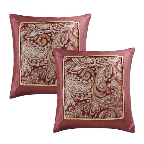 Gracewood Hollow Abley Burgundy Jacquard Square Pillow Pair