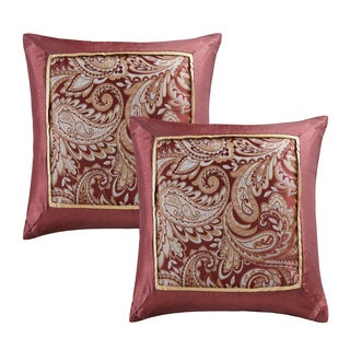 Madison Park Churchill Burgundy Jacquard Square Pillow Pair