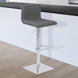 Armen Living Cafe Grey Faux Leather Upholstered Brushed Stainless Steel Finish Adjustable Metal Barstool