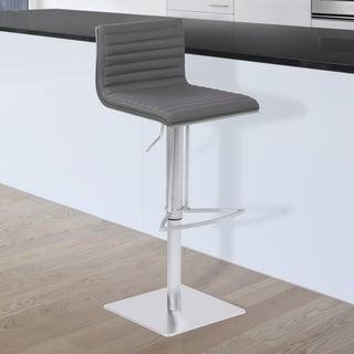 Armen Living Cafe Grey Faux Leather Upholstered Brushed Stainless Steel Finish Adjustable Metal Barstool