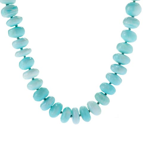Michael Valitutti Palladium Silver Blue Opal Freeform Bead Toggle Necklace