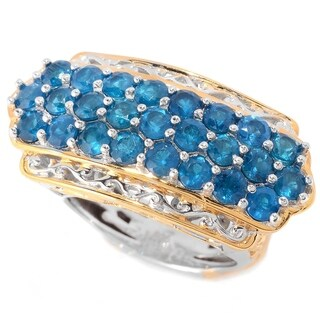 Michael Valitutti Palladium Silver Neon Apatite Three-Row East-West Ring