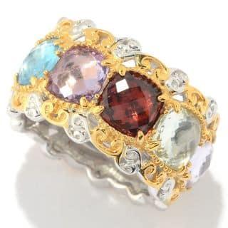 Michael Valitutti Palladium Silver Checkerboard Cut Multi Gemstone Eternity Band Ring https://ak1.ostkcdn.com/images/products/16403862/P22752863.jpg?impolicy=medium