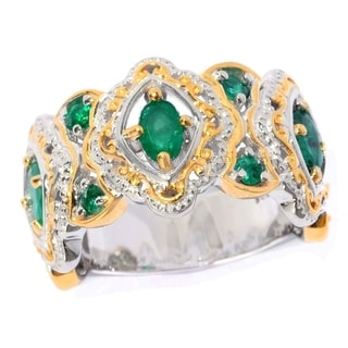 Michael Valitutti Palladium Silver Oval & Round Zambian Emerald Scrollwork Halo Band Ring