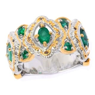 Michael Valitutti Palladium Silver Oval & Round Zambian Emerald Scrollwork Halo Band Ring|https://ak1.ostkcdn.com/images/products/16403867/P22752867.jpg?impolicy=medium