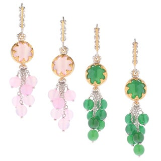 Michael Valitutti Palladium Silver Pink/Green Chalcedony Bead Cluster Dangle Earrings