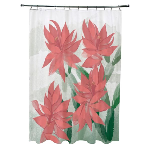 Christmas Cactus Floral Print Shower Curtain