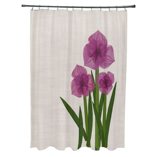 Amaryllis Floral Print Shower Curtain